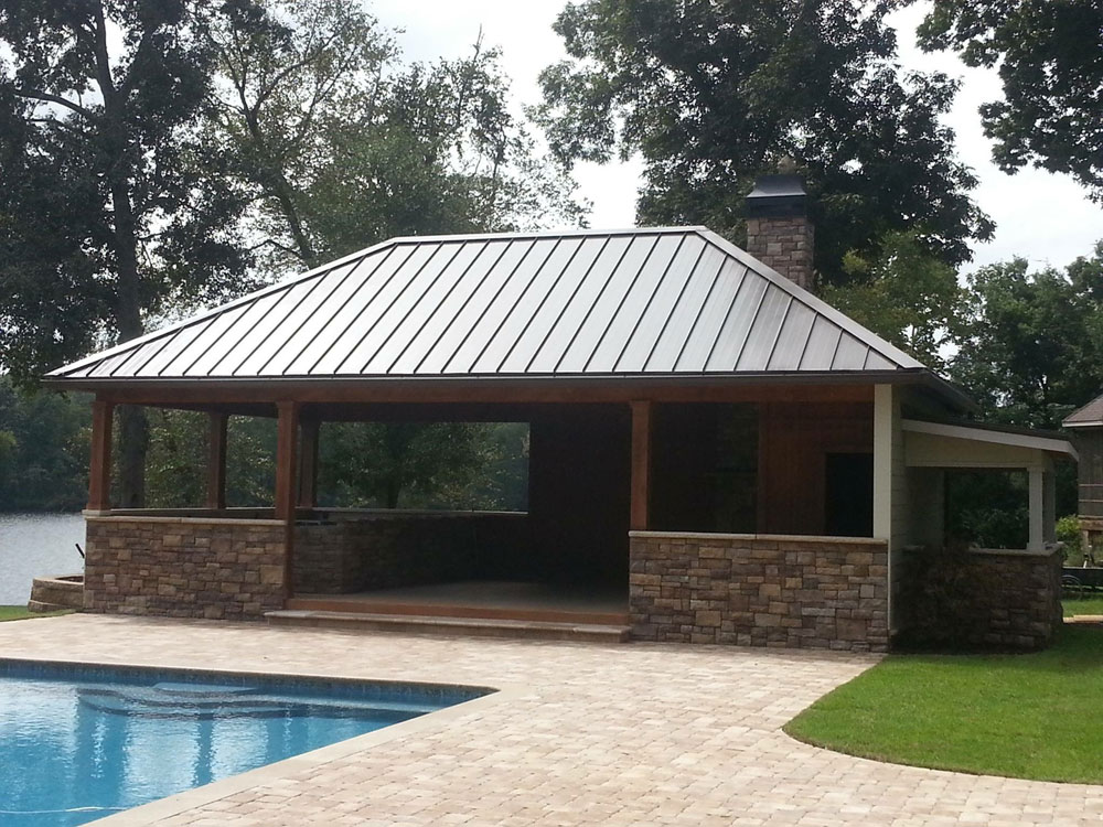 Expresso-colored metal roofing over a pavilion